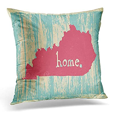TOMKEYS Throw Pillow Cover Area Kentucky Nostalgic Rustic Vintage State Sign Map America Decorative Pillow Case Home Decor Square Pillowcase