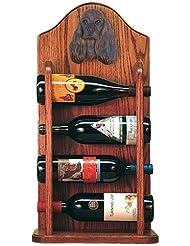 Michael Park BROWN American Cocker Spaniel Wine Rack 4 Bottle Dark Oak