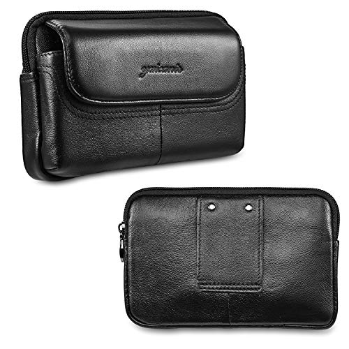 suily Men's Genuine Leather Small Waist Phone Bag, Horizontal Style Cell Phone Pouch w/Belt Loop Holster for iPhone Xs…