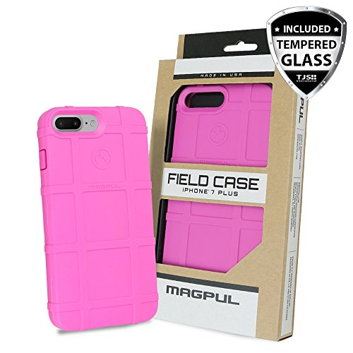 iPhone 7 Plus Case, iPhone 8 Plus Case, with TJS [Tempered Glass Screen Protector], Magpul [Field] MAG849 Polymer Case Cover Retail Packaging for Apple iPhone 7 Plus/iPhone 8 Plus (Pink)