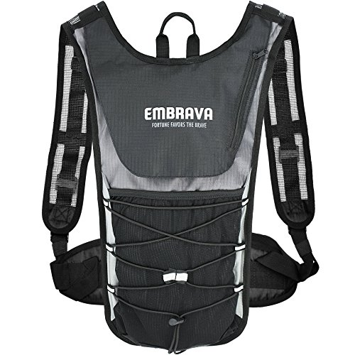 Sports Hydration Pack by Embrava - 2 Liter - Best Insulated Backpack with Water Storage Bladder - Outdoor Survival Water Bag for Running, Cycling and Camping - Durable and Lightweight