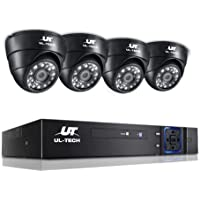 UL-TECH 4pcs IP Camera,1080p HD 4C Security Bullet Camera System with 20m Night Vision,Powerful 5-In-1 DVR,IP66 All…
