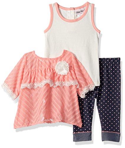Toddler Girls Capri Set (Little Lass Baby Toddler Girls' 3 Pc Polka Dot Capri Set, Coral, 4T)