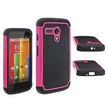 theMobileArea Motorola Moto G XT1032 Rugged Impact Heavy Duty Dual Layer Shock Proof Case Cover Skin - Hot Pink