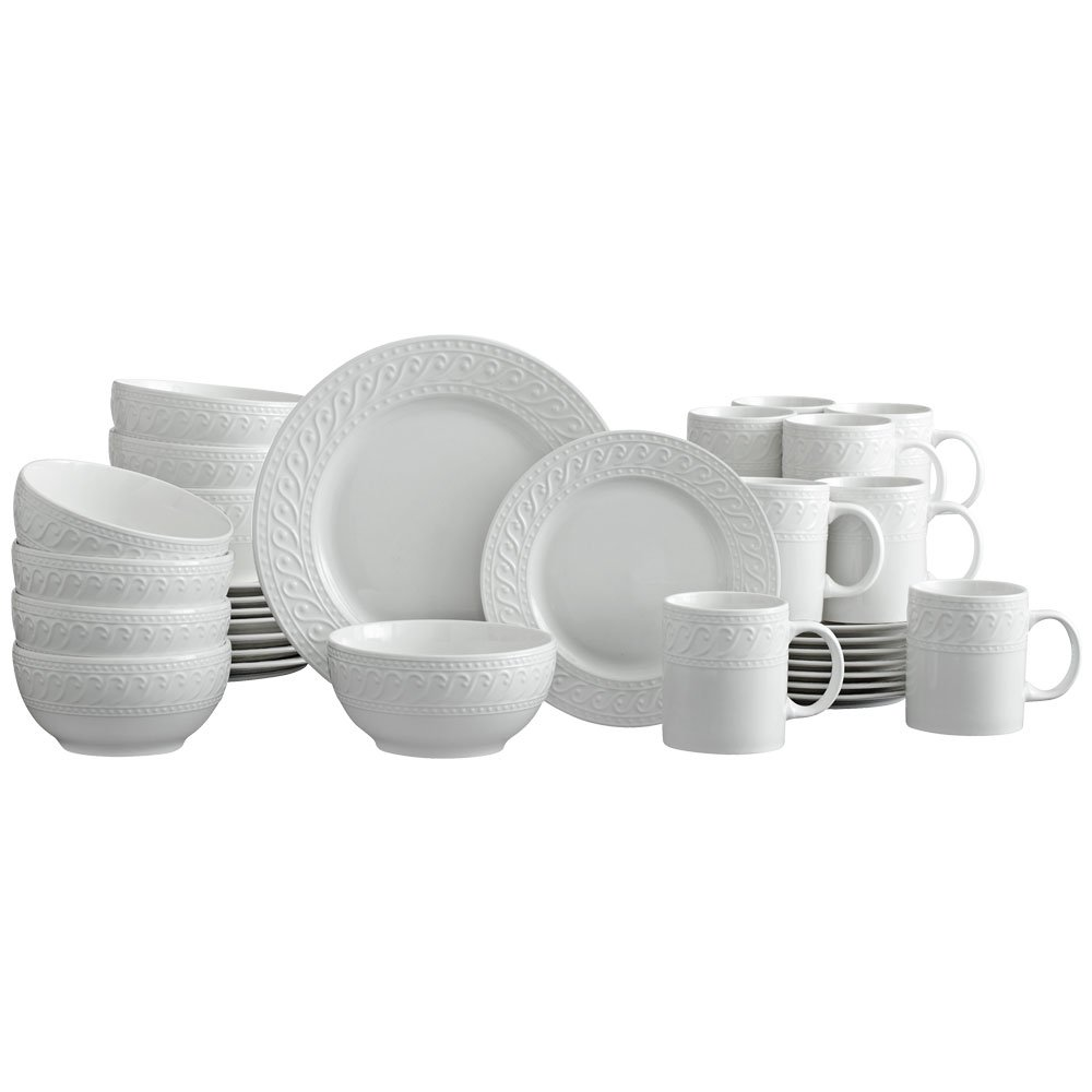 Pfaltzgraff Sylvia 32 Piece Dinnerware Set, Service for 8, White by Pfaltzgraff