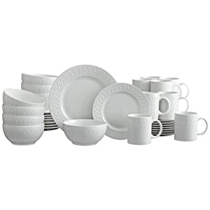 Pfaltzgraff Sylvia 32 Piece Dinnerware Set, Service for 8, White