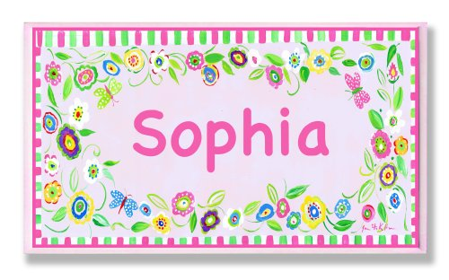 Childrens Name Plaques (The Kids Room by Stupell Sophia, Pink and Green Border with Flowers Personalized Rectangle Wall Plaque)