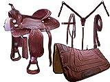 Tahoe Basket Weave Tooled Western Leather Pleasure Saddle, Medium Oil Plain, 17'