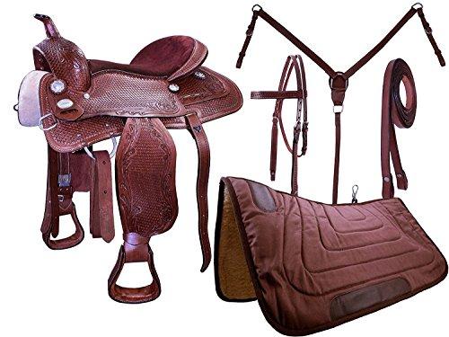 Tahoe Basket Weave Tooled Western Leather Pleasure Saddle Set, 12