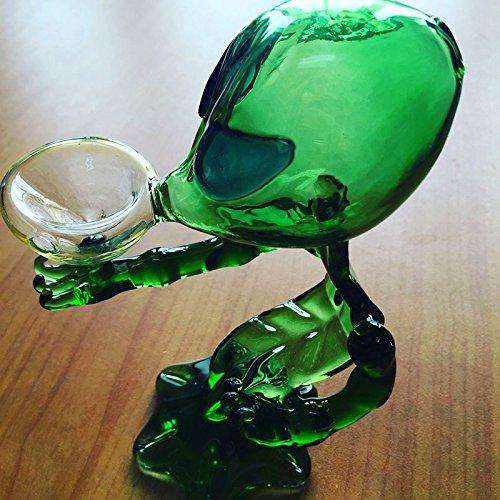 YoxyArt Colored Glass Alien Smoking Bottle, Glass Colored Alien Tobacco Bottle (Green)