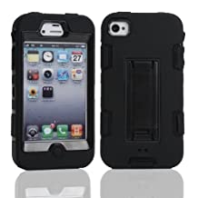 iPhone 4 Case, iPhone 4S Case, Lantier Powerful Protection [3 In1 Color Mix Design],Hybrid Hard Soft Durable Bumper Case Armor Case Back Cover Case with Kickstand for Apple iPhone 4 4S Black-Black