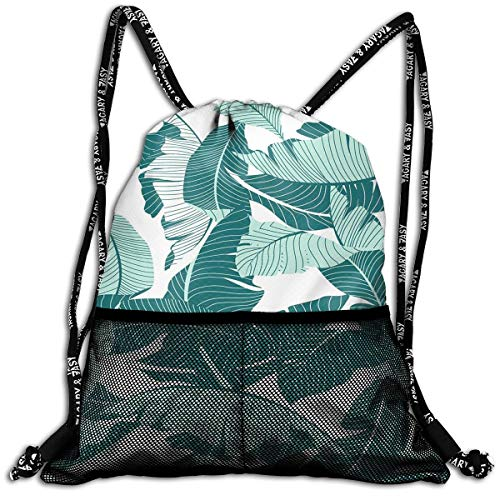 Tropical Banana Leaf Unisex Large Sport Sack Drawstring Backpack Waterproof Stadium Shoulder Bags Home Travel School Storage -
