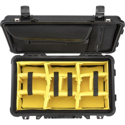 Pelican 1510SC Polycarbonate Studio Case, Black with Padded Yellow Foam Dividers
