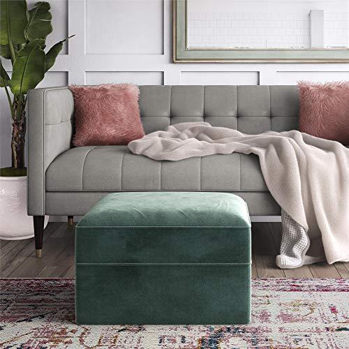 CosmoLiving by Cosmopolitan Juliette Glam Velvet upholstered ottoman Seafoam Green (Green Ottoman)