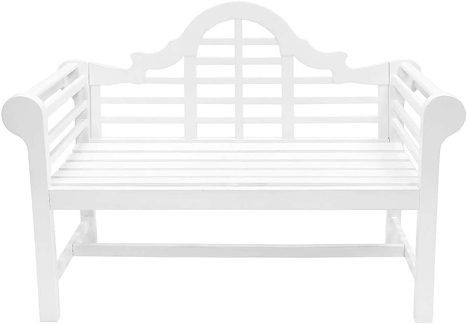 Achla Designs OFB-01W Lutyens Indoor/Outdoor Garden Bench, White, 4 ft
