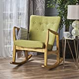 This rocking chair is a great addition to any room in your home, especially a bedroom. Complete with a buttoned back and extra cushioned seat for comfort, this chair is relaxation personified. With a mid-century design to complement any décor...