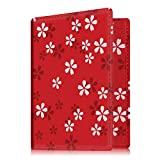 Fintie Passport Holder Travel Wallet - Premium Vegan Leather RFID Blocking Case Cover - Securely Holds Passport, Business Cards, Credit Cards, Boarding Passes, Floral Red