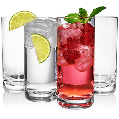 JoyJolt Stella Lead Free Crystal Highball Glass 14.2-Ounce Barware Collins Tumbler Drinking Glasses For Water, Juice, Beer, And Cocktail Set Of 4 by JoyJolt (Image #7)