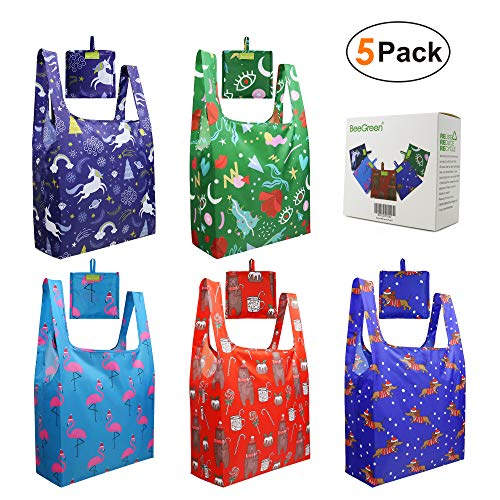 Christmas-Gift-Bags-Grocery-Shopping Bags with Pocket Reusable 5 Pack Tote Bags Xlarge RIPSTOP Foldable Bags Washable Reusable Foldable Fabric Bags for Women Girls Amazon Recycled Bags Bulk
