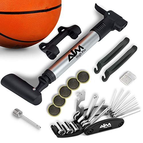 Bike Repair Kit with Pump - Bike Multitool - Tire Levers - Ball Needle - Frame Mount Mini Bike Pump Portable Presta & Schrader Compatible - Self Adhesive Patches - Bike Tire Repair Kit