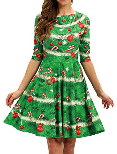 BarbedRose Women 3D Print Round Neck Short Sleeve Unique Casual Flared Midi Dress,Ugly Christmas Tree,S/M (Trees Christmas M&s)
