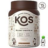 KOS Organic Plant Based Protein Powder - Raw Organic Vegan Protein Blend, 1.3 Pound, 15 Servings (Chocolate)