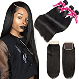 Beauty Princess Brazilian Straight Hair with Closure 8A Mink Brazilian Virgin Straight Hair 3 Bundles with Free Part Closure Unprocessed Straight Hair Bundles with Closure Natural Color (20 22 24+18) Review