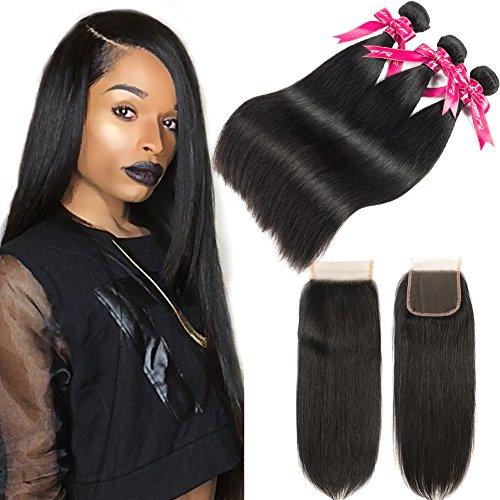 Cheap Beauty Princess Brazilian Straight Hair with Closure 8A Mink Brazilian Virgin Straight Hair 3 Bundles with Free Part Closure Unprocessed Straight Hair Bundles with Closure Natural Color (14 16 18+12)