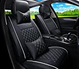 FLY5D 2Pcs Front Seats Cover Easy to Clean PU Leather Car Seat Cushions Universal Fit Car Seat Covers (Front Seat Cover, Black/White)