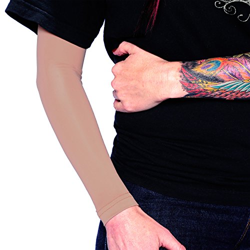 Tat2X Ink Armor Premium Full Arm Tattoo Cover Up Sleeve - No Slip Gripper - U.S. Made - Suntan Skin Tone Tattoo Cover Sleeve (Extra-Small/Small) ()
