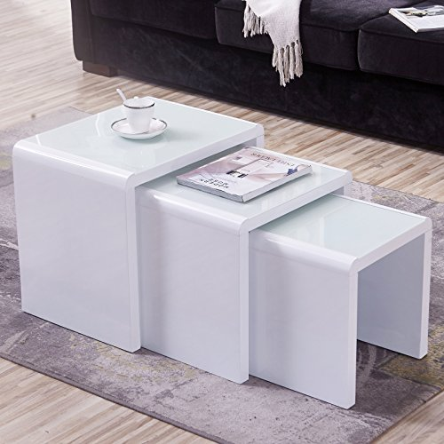 Mecor Nesting Coffee Table, 3 Piece Glass Top Side End Table W/High Gloss White for Living Room (Set of 3, MDF) (Gloss High Modern)