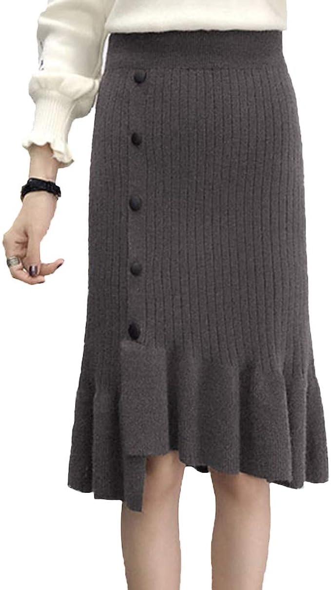 Moollyfox Mujer Tejer Midi Irregular Bodycon Plisada Falda de ...