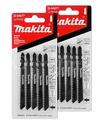Makita 10 Piece - T Shank Wood Jigsaw Blades For Jig Saws - Fast & Straight Cuts For Soft Wood & PVC - 4