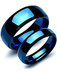 2 pcs Stainless Steel Our Love Pure as the Sea Noble Ocean Blue Couple Rings Wedding Band