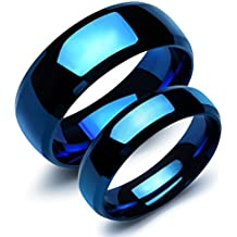 OPK Jewelry Stainless Steel Sapphire Blue Couple Rings His and Her Matching Band