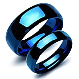 Ubeauty1999 2Pcs Stainless Steel Pure Full Blue Dome Matching Couple Wedding Rings Band for Him and Her Sets