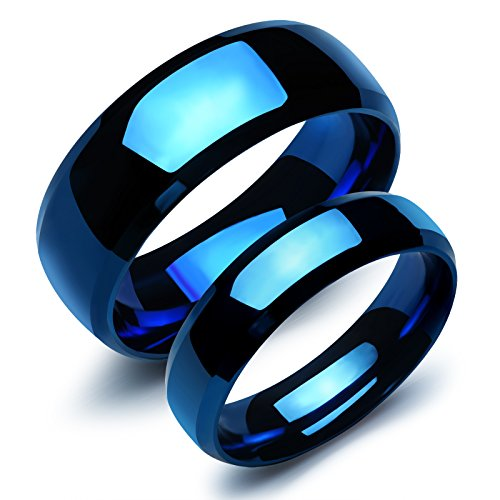 - Fate Love 2 pcs Stainless Steel Our Love Pure as The Sea Noble Ocean Blue Couple Rings Wedding Band