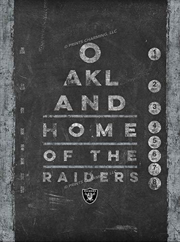 Photo File Eye Chart Vert Oakland Raiders Unframed Poster 12x16 Inches