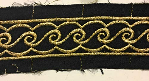 Millinery Trim (2 Yards Gold Embroidery on Black Trim -1-3/4'' Wide -Great Belt Trim, Hat Trim, Millinery Trim Dress Trimming)