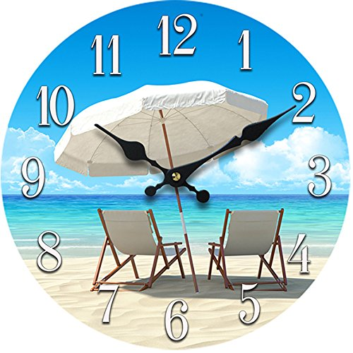 New-13-X-13-Beach-Chair-Glass-Wall-Clock-Home-Wall-Decor-Coastal-Nautical-Beach