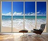 3 4 glass door - wall26 Large Wall Mural - Tropical Beach Seen Through Sliding Glass Doors   3D Visual Effect Self-adhesive Vinyl Wallpaper/Removable Modern Decorating Wall Art - 66