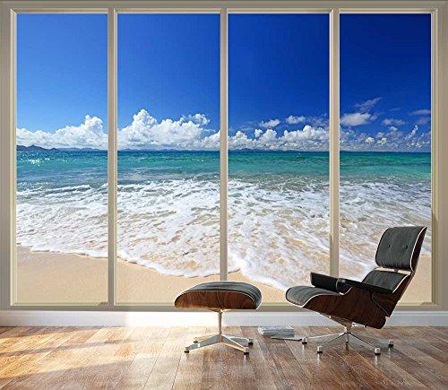wall26 Large Wall Mural – Tropical Beach Seen Through Sliding Glass Doors | 3D Visual Effect Self-adhesive Vinyl Wallpaper/Removable Modern Decorating Wall Art – 100″x144″