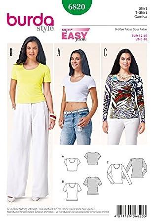 Burda Damen Schnittmuster 6820 – Stretch Knit Casual Tops: Amazon.de ...