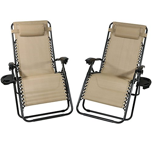 Sunnydaze Khaki Outdoor Oversized Zero Gravity Lounge Chair with Pillow and Cup Holder, Set of Two