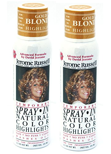 Jerome Russell SPRAY IN Natural Color Highlights TWO PACK - Gold Blonde - Clean, Easy Washes Out - 2 x 3.5 oz Temporary Hair Color -