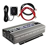 Power TechON 2000W Pure Sine Wave Power Inverter 12V DC to 120V AC with 3 AC Outlets + 1 5V USB Port, Remote Switch and 2 Battery Cables (4000W Peak) PS1003
