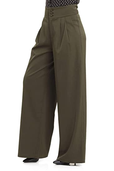41a4793ee16 VOODOO VIXEN Womens Ola Olive Green Trousers  Amazon.co.uk  Clothing