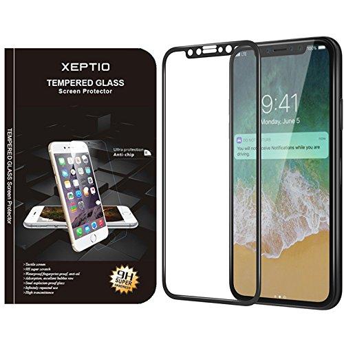 Apple iPhone 8 5.1 pollici Full Cover Pellicola Protettiva ultraresistente in Vetro Temperato 9H premium - Tempered Glass Pellicola Protettiva Schermo per iPhone X Edition (nera) - XEPTIO accessori
