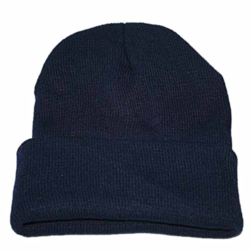 iLXHD Warm Chunky Soft Stretch Cable Knit Beanie Skully Thick Soft Warm Winter Hat Caps Unisex Dark Blue