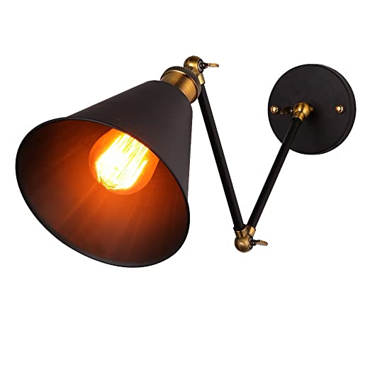 onepre vintage industrial swing arm wall light adjustable retro wall